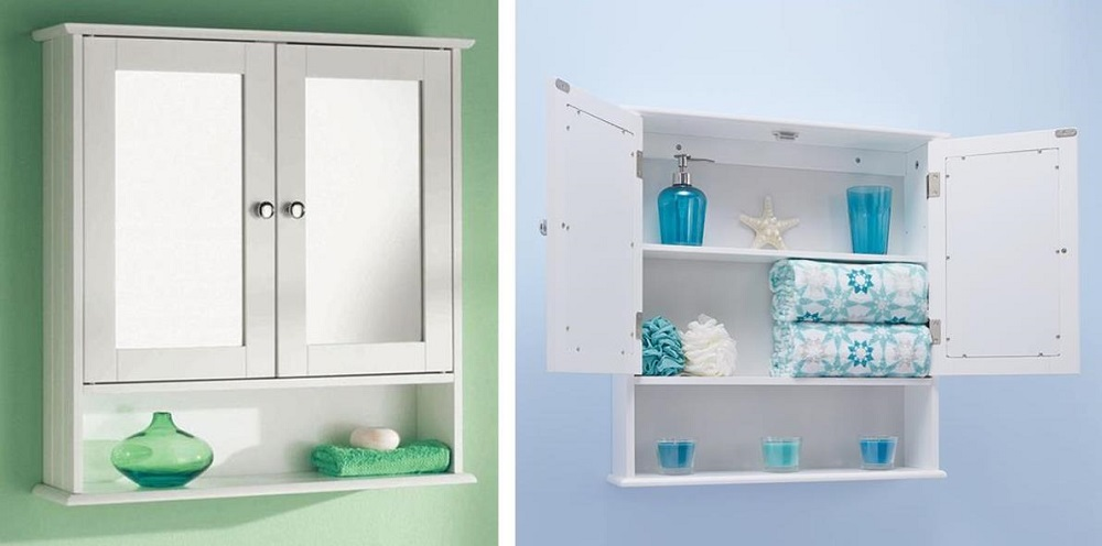 Home Living Double Door Mirrored Bathroom Cabinet