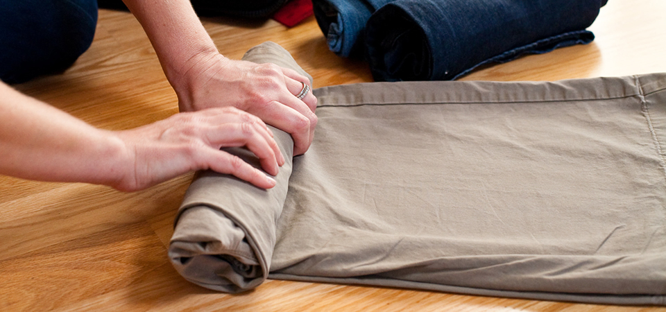 Rolling up clothes is fast and easy