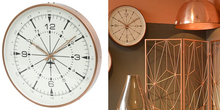 Libra Furniture Copper Aviator Wall Clock