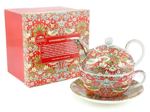 WIlliam Morris Red Strawberry Thief Tea For One Set