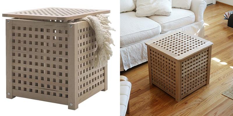 Ikea HOL Wooden Laundry Bin