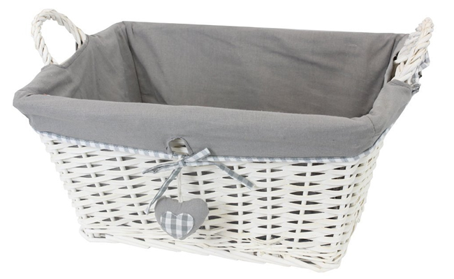 JVL Hearts Willow Wicker Laundry Basket