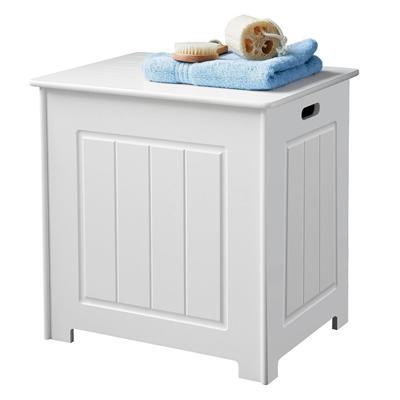 MS INTL White Wooden Laundry Bin