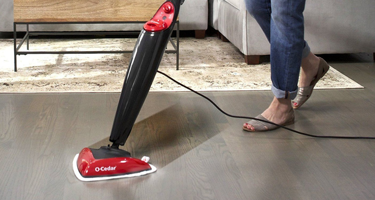 Steam Mopping Dusty Floor