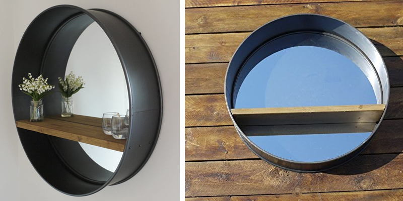 Industrial Round Shelf Mirror by Garden Sculptures & Ornaments