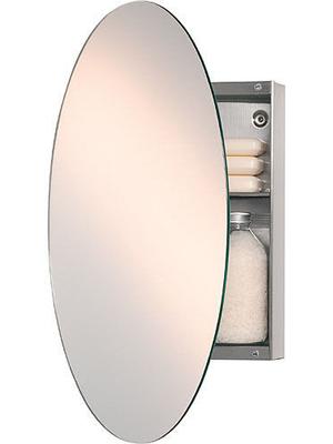 Oval Single Bathroom Mirror Cabinet