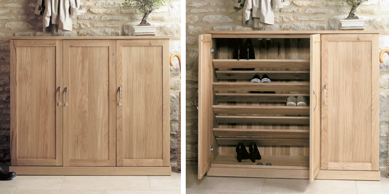 Mobel Oak Extra Large Shoe Cupboard by Baumhaus