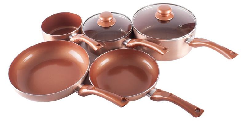 Cermalon Ceramic Coated Copper Pan Set