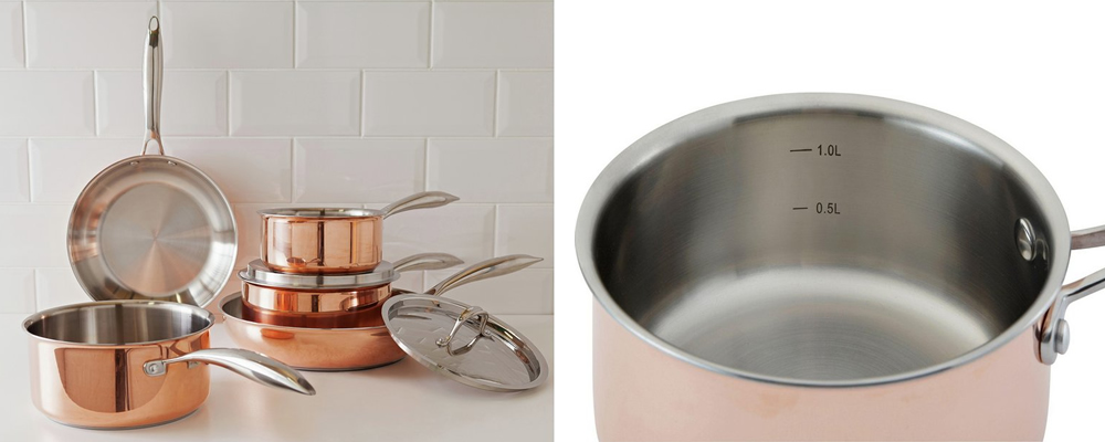 Heart of House 5 Piece Copper Pan Set