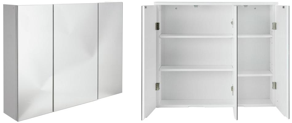 HOME 3 Door Mirrored Bathroom Cabinet