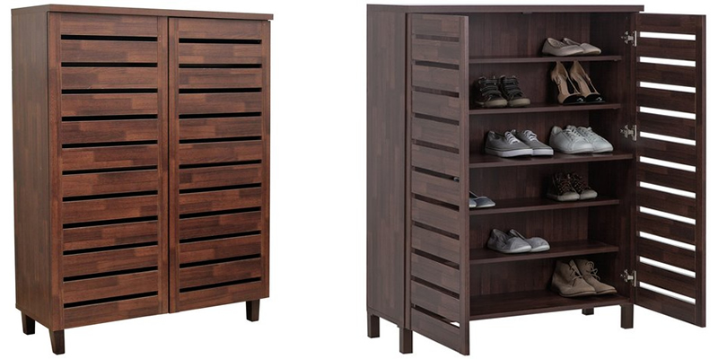 HOME Large Slatted Shoe Cabinet
