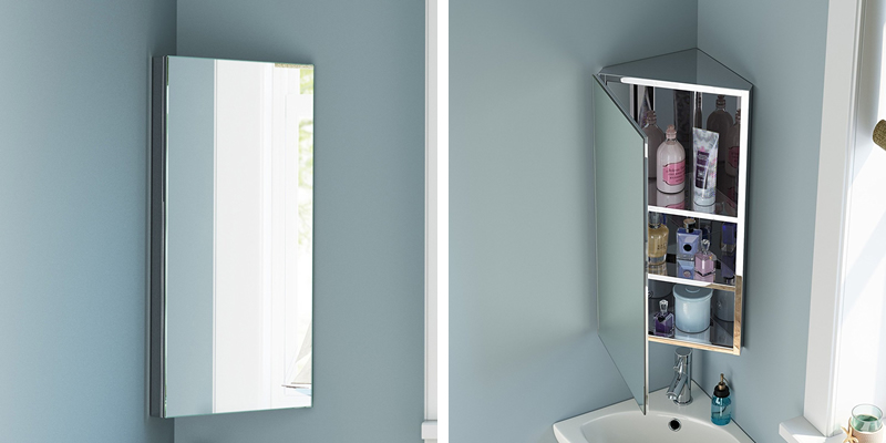 iBath Corner Bathroom Mirror Cabinet