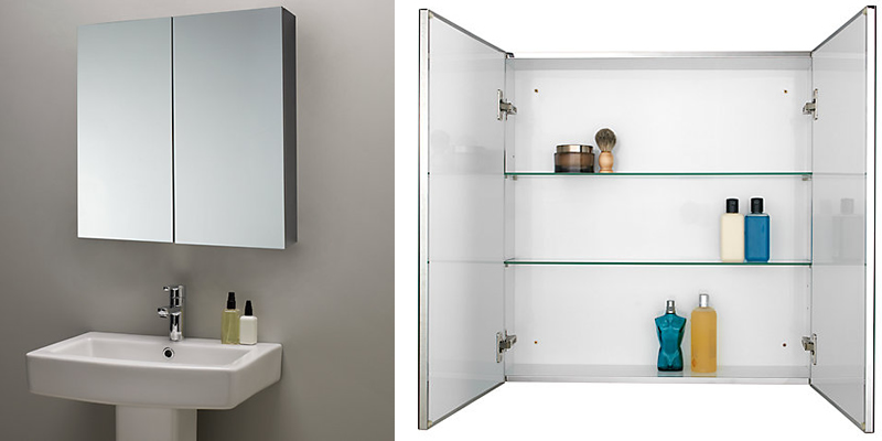 John Lewis Double Mirrored Bathroom Cabinet