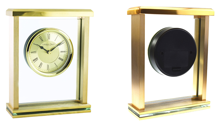 Flat Top Gold Mantel Clock by London Clock