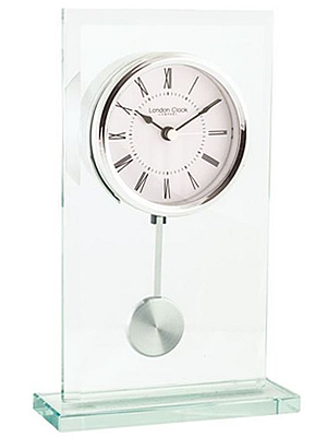 Pendulum Glass Mantel Clock by London Clock