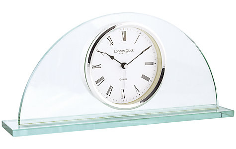 Half Moon Glass Mantel Clock by London Clock