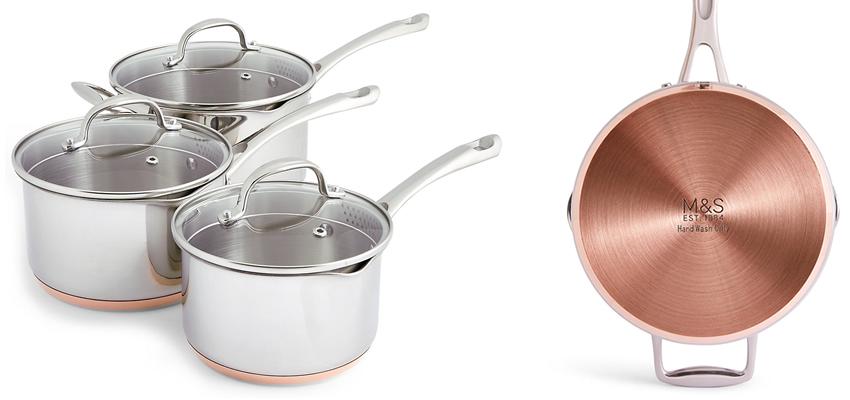M&S 3 Piece Copper Base Saucepan Set
