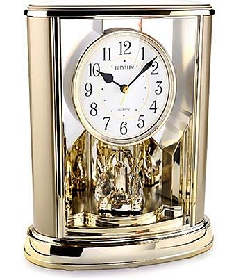 RHYTHM Black Arabic Numerals Mantel Clock