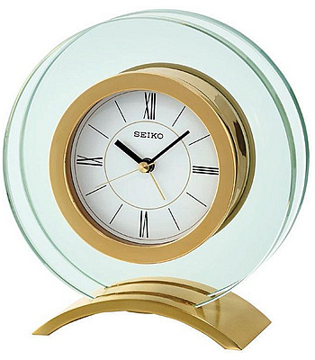 Seiko Round Gold and Glass Mantel Clock