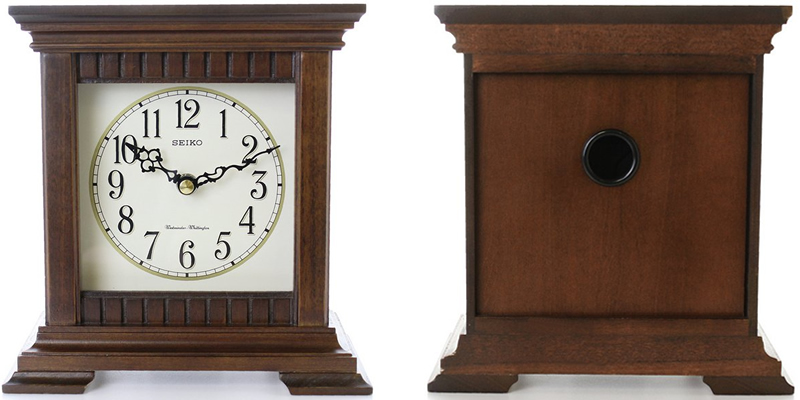 Seiko Wooden Square Dual Chime Mantel Clock