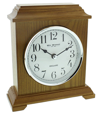 Napoleon Oak Wooden Mantel Clock by Widdop Bingham
