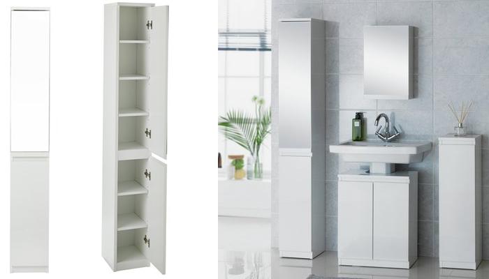 Hygena Gloss Mirrored Tall Cabinet