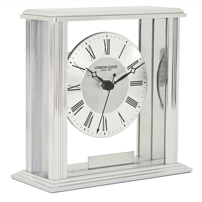 Silver Flat Top Mantel Clock by London Clock | 06399
