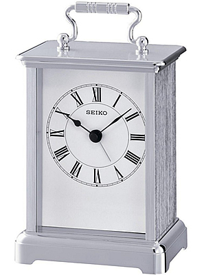Seiko Silver Carriage Clock with Alarm