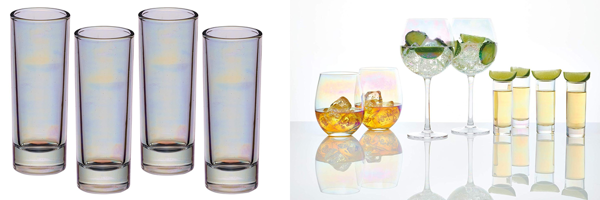 BarCraft Rainbow-Pearl Iridescent Tall Shot Glasses