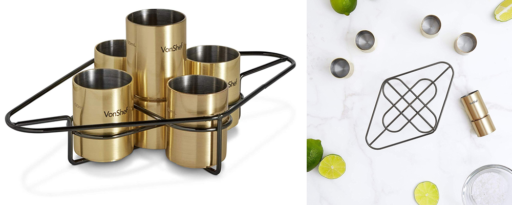 VonShef Brushed Gold Shot Glasses